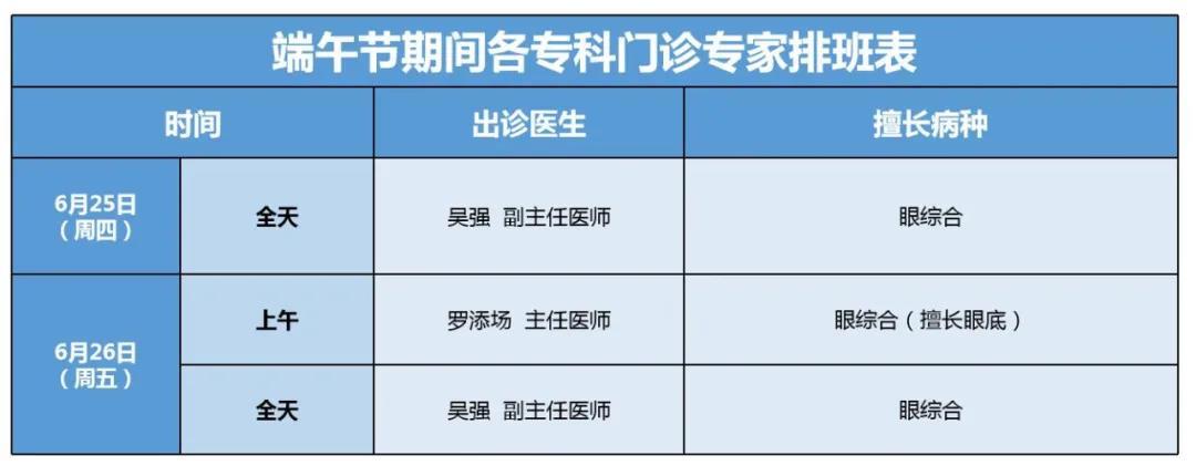 厦门眼科中心漳州眼科医院端午节期间门诊排班