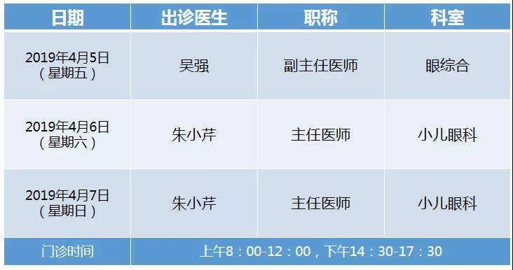 通知:2019年清明假期厦门眼科中心漳州眼科医院专家出诊表